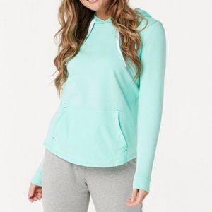 AnyBody Cozy Knit Light French Terry Hoodie Mint